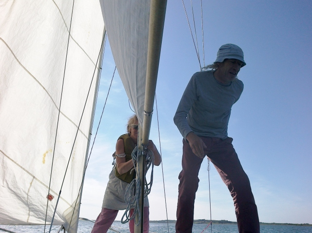 Under sail, and working the ropes, on the Shannon.