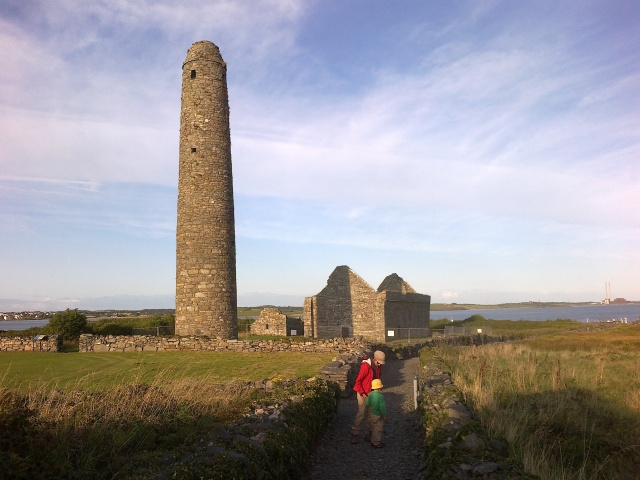 Inis Cathaigh with its round tower and church ruins.