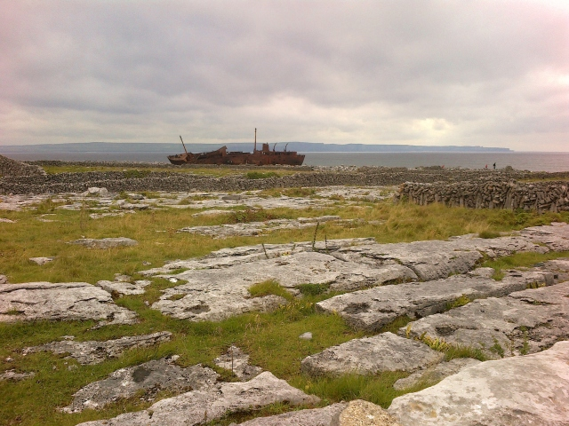 Looking across the karst landscape towards the wreck of the Plassy.